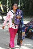 Cambodian Woman Selling Scarf and Souvenir Royalty Free Stock Photography