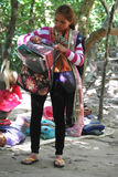 Cambodian Woman Selling Scarf and Souvenir Royalty Free Stock Images