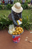 Cambodian woman sells fruit Royalty Free Stock Image