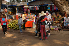 Cambodian women wait for tourists Stock Image