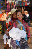 Cambodian women wait for tourists Royalty Free Stock Images