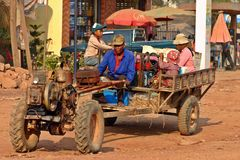 Cambodian Work Horse. Old make shift Tractor carrying family in Western Cambodia Royalty Free Stock Images