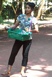Cambodian Young Lady Selling Souvenir Stock Photo