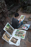 Cambodian young painter at the temple Banteay Kdei temple.Angkor Royalty Free Stock Photography