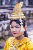 Cambodians Apsara dancers. SIEM REAP , CAMBODIA - OCT 15 : Cambodian Apsara dancer in Angkor Wat , Siem Reap Cambodia on October 15 2017. The Apsara dance is a Stock Photo