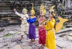 Cambodians Apsara dancers. SIEM REAP , CAMBODIA - OCT 15 : Cambodians Apsara dancers in Angkor Wat , Siem Reap Cambodia on October 15 2017. The Apsara dance is a Royalty Free Stock Photography