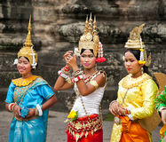 Cambodians in national dress poses for tourists, Cambodia. Royalty Free Stock Photography