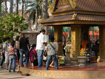 Cambodians worshiping Buddha in Siem Reap Royalty Free Stock Image
