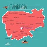 Cambodja översikt - Royaltyfria Foton