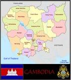 Cambodja administrativa uppdelningar Royaltyfria Bilder
