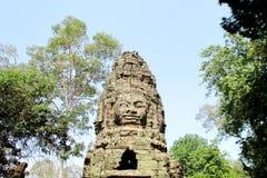Cambodja Angkor Wat Gate huvud på fyra sidor av världen royaltyfri bild