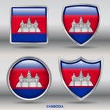 Cambodja flagga i samling för 4 former med den snabba banan Royaltyfri Foto