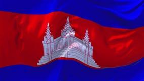 Cambodja flagga som vinkar i fortlöpande sömlös öglasbakgrund för vind arkivfilmer