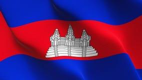 Cambodja flagga som vinkar på vind stock illustrationer