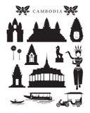 Cambodja gränsmärken och kulturobjektuppsättning Royaltyfria Bilder