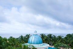Cambodja hav, sikt från terrass av Koh Kong Resort, semesterorten c royaltyfri foto