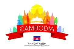 Cambodja Phnom Penh lopp vektor illustrationer