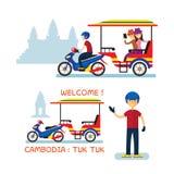 Cambodja Tuk Tuk service för turisten, Angkor Wat Background Arkivbilder