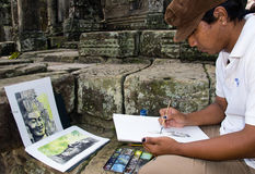 Cambodjaanse Kunstenaar Stock Foto's