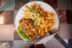 Cambodjaanse vissenbarbecue met gebraden gerechten Royalty-vrije Stock Foto
