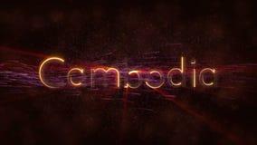 Camboja - animação dando laços brilhante do texto do nome de país
