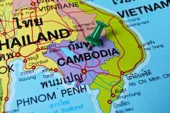 Camboya en mapa Foto de archivo libre de regalías