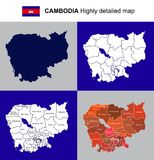 Camboya - mapa político altamente detallado con regiones, RRPP del vector Fotografía de archivo libre de regalías