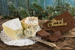 Cambozola, Bleu d`auvergne noble gourmet cheeses with blue and w Stock Photos