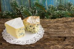Cambozola, Bleu d`auvergne noble gourmet cheeses with blue and w Stock Photography