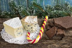 ` Cambozola, des Bleu d edle feinschmeckerische Käse Auvergne mit Blau und w Stockfotografie