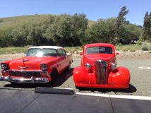 Cambria Car Show. Red Vintage Cars Stock Image