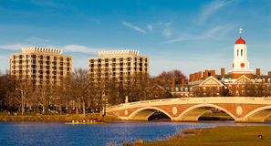 Cambridge in Boston. View of the Charles River on a sunny spring day at sunset with a very warm light. The Weeks Memorial Footbridge and Harvard University site Stock Photos