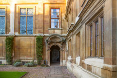 Cambridge, Clare college inner yard view. CAMBRIDGE, UK - JANUARY 18, 2015: Clare college inner yard view Royalty Free Stock Photography