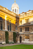 Cambridge, Clare college inner yard view. CAMBRIDGE, UK - JANUARY 18, 2015: Clare college inner yard view Royalty Free Stock Images