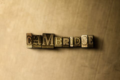 CAMBRIDGE - close-up of grungy vintage typeset word on metal backdrop Royalty Free Stock Photo