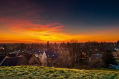 Cambridge Dusk. The Cambridge city took from the hill in the evening Royalty Free Stock Image