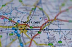 Cambridge en mapa Imagen de archivo