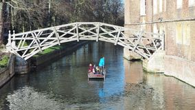 Cambridge, Engeland Toeristen die rondvaarten berijden rond de Universitaire universiteiten van Cambridge langs de riviernok stock footage