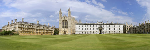 Cambridge. ENGLAND - AUGUST 2012; Panoramic view of  the King`s College Royalty Free Stock Image