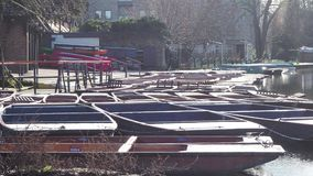 cambridge england Gruppen av tomma tr?fartyg under vintertiden som anv?nds f?r, turnerar runt om de Cambridge universiteth?gskolo lager videofilmer