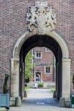 Cambridge England historisk tegelstenbyggnad Arkivbild