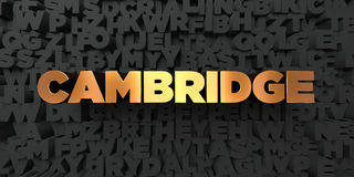 Cambridge - Gold text on black background - 3D rendered royalty free stock picture Royalty Free Stock Images