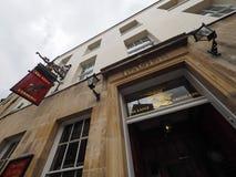 CAMBRIDGE, HET UK - CIRCA OKTOBER 2018: Eagle Pub waar DNA-de ontdekking in 1953 door wetenschappers van Cavendish werd aangekond stock afbeelding