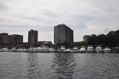 Cambridge, il 30 giugno: Panorama della città di Cambridge dal fiume Charles nello stato di Massachusettes di U.S.A. Immagini Stock