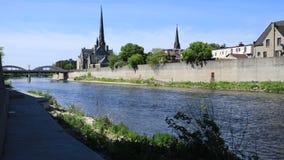 Cambridge, Kanada i Uroczysta rzeka, timelapse 4K zdjęcie wideo