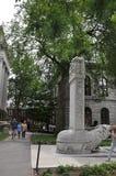 Cambridge mA, el 30 de junio: Monumento del campus de Harvard en el estado de Cambridge Massachusettes de los E.E.U.U. Imágenes de archivo libres de regalías