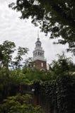 Cambridge mA, el 30 de junio: Torre de la casa de la iglesia en el campus de Harvard del estado de Cambridge Massachusettes de lo Fotos de archivo libres de regalías