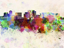Cambridge MA skyline in watercolor Stock Photography