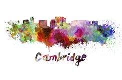 Cambridge MA skyline in watercolor Royalty Free Stock Photo