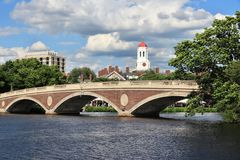 Harvard University landmarks. Cambridge, Massachusetts. Harvard University campus with Charles River bridge royalty free stock photos